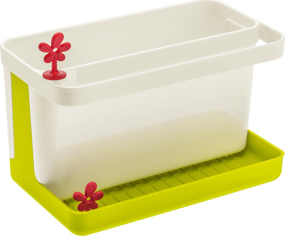 Вместительный органайзер PARK IT поможет организовать пространство на кухне: в нем найдется место для губки, щетки, маленького полотенца, моющего средства и столовых приборов. Корпус органайзера разбирается и легко моется. В основании есть отверстие для слива, которое закрывается декоративной пробкой.  Особенности: - отверстие для слива воды в раковину - можно мыть в посудомоечной машине - не содержит меламин - подарочная упаковка