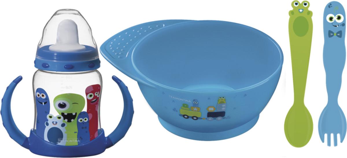 Набор детских столовых приборов Tramontina Monsterbaby, цвет: голубой, 4 предмета набор столовых ножей tramontina laguna 3 шт