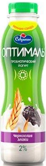 "Йогурт Савушкин ""Оптималь"", чернослив, злаки, 2%, 415 мл"