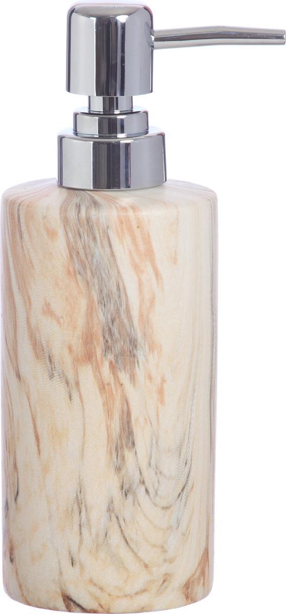 """Дозатор """"Мрамор бежевый"""" выполнен из керамики с матовым покрытием. Утонченная форма предмета, благородный и гармоничный оттенок, в котором представлена коллекция, украсит Вашу ванную комнату."""
