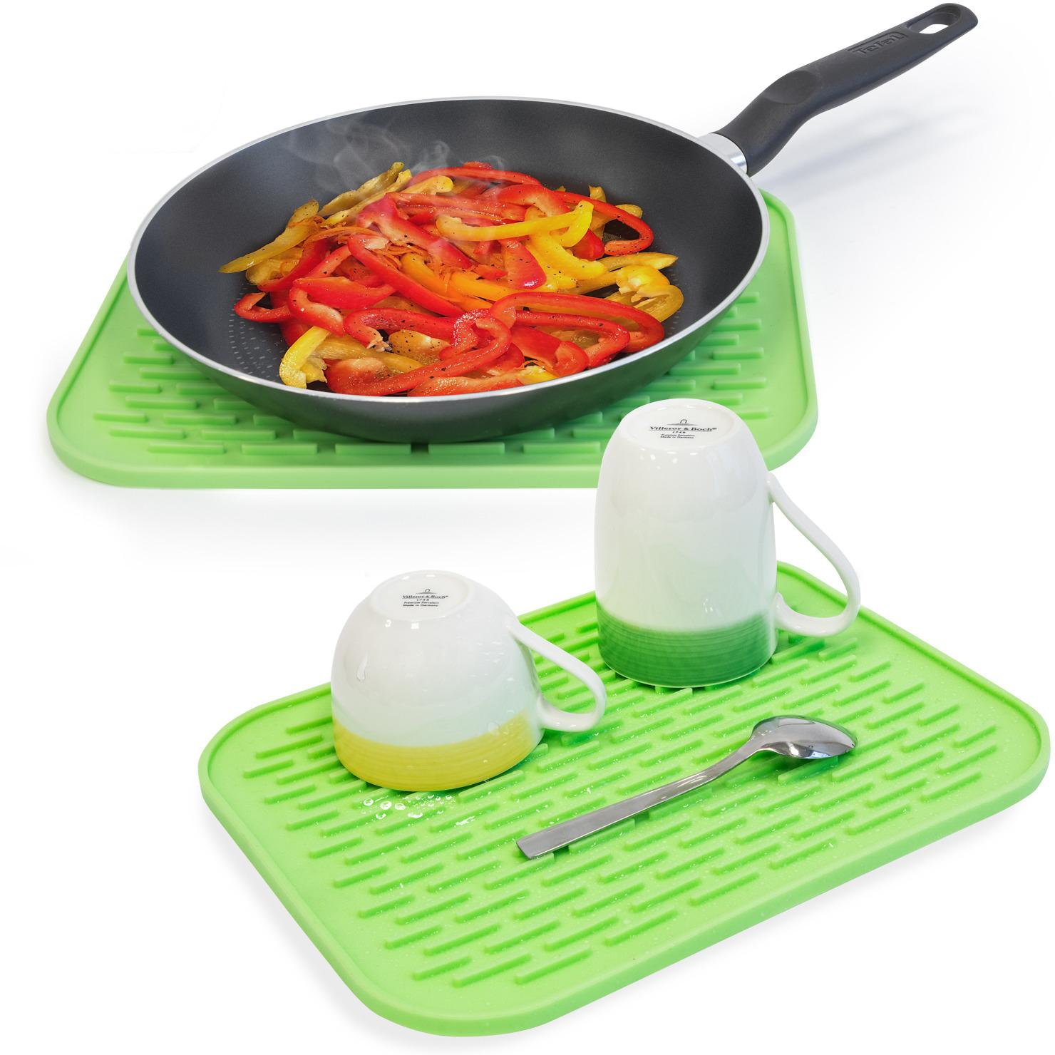 Tatkraft HOT Силиконовый коврик для сушки посуды, 2шт., L30xH1xD24 сm, Гибкий. Ребра помогают быстро сохнуть посуде. Можно использовать как подставку для посуды. Высокая термостойкость - до 260° C. Материал: силикон