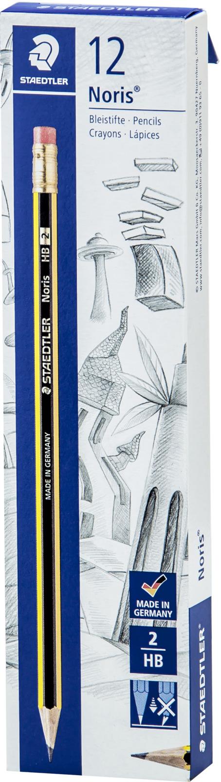 Набор чернографитовых карандашей Staedtler Noris 122 НВ, с ластиком, 12 шт карандаши чернографитные noris hb 2 шт ластик 52650 точилка 511004 блист упак staedtler