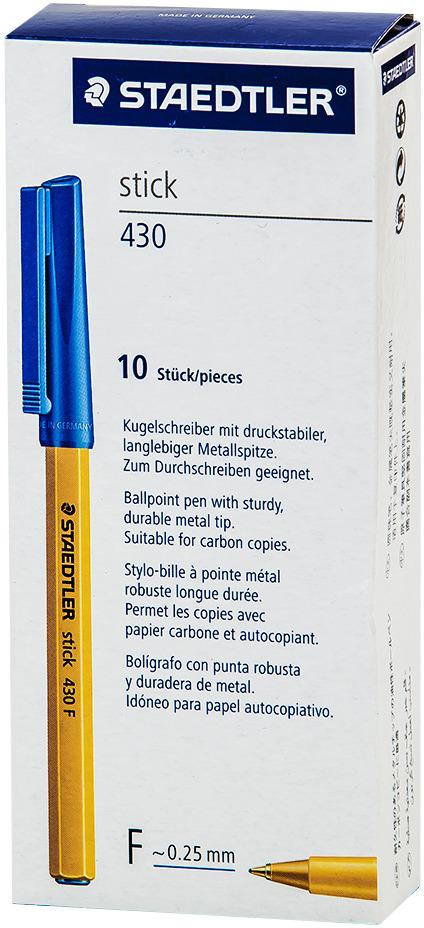 Набор шариковых ручек Staedtler Stick 430 F, цвет чернил: синий, 10 шт канцелярия berlingo набор автоматических шариковых ручек f 10 цвет синий 4 шт