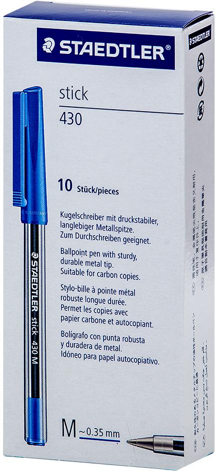 Набор шариковых ручек Staedtler Stick 430 M, цвет чернил: синий, 10 шт santoro ручка шариковая gorjuss slim metal pen the collector цвет чернил синий