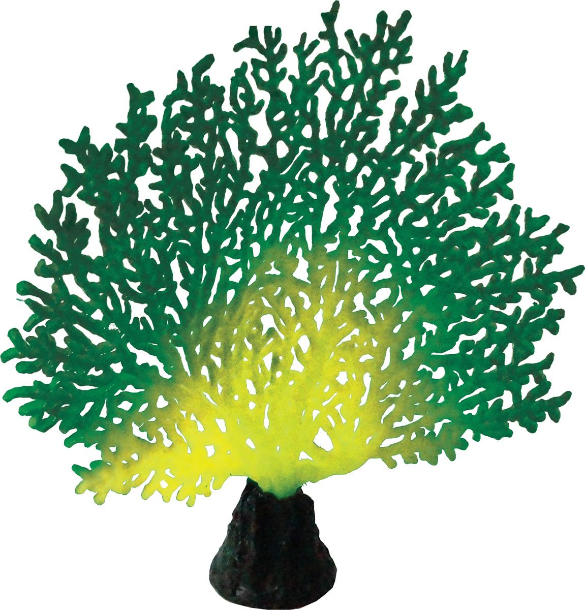 Декорация для аквариума Jelly-Fish Коралл, светящаяся, цвет: зеленый, 20,5 х 19 х 6,5 см декорация для аквариума dezzie руины лестница 16 5 х 7 8 х 8 5 см