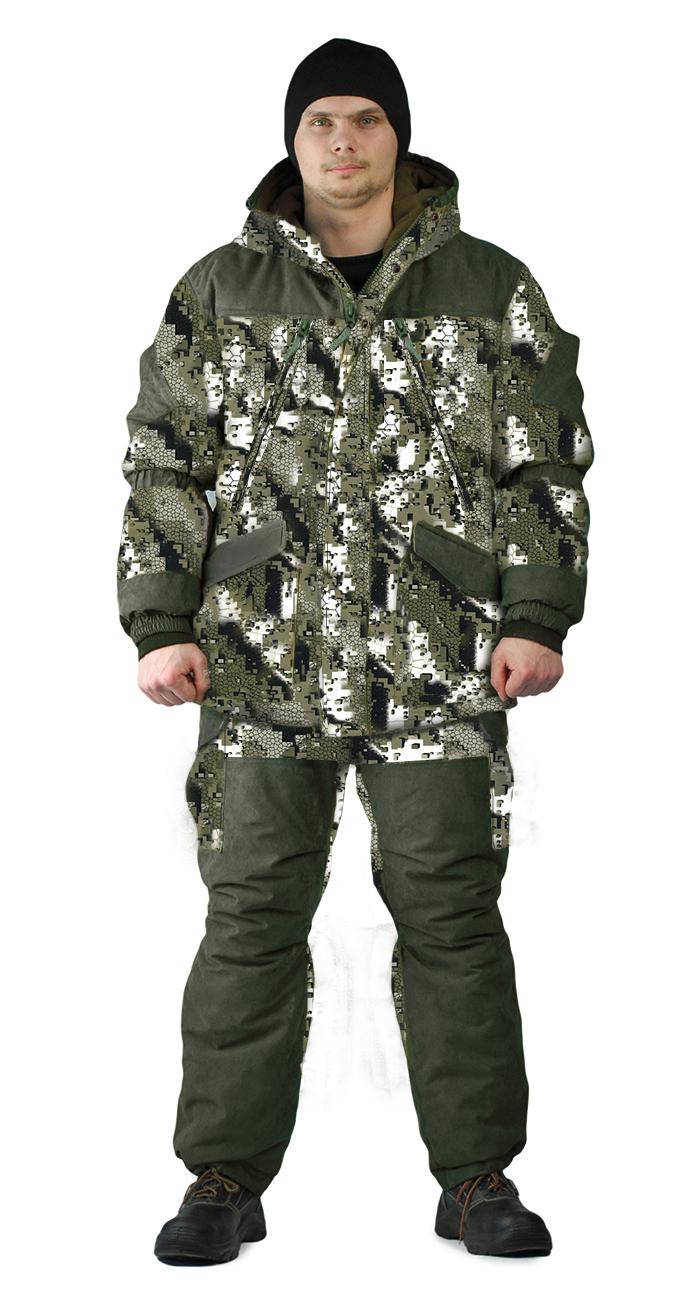 """Ткань основная: полиэфирная АЛОВА (100% полиэфир), плотность 190 г/м2Материал утеплитель: Синтепон в куртке 3 слоя по 120 г/ м2, в полукомбинезоне 2 слоя по 120 г/ м2Нижняя температура: до -30°СОписание Модель """"Граск"""" рекомендуется для активного отдыха, охоты, рыбалки и туризма, состоит из куртки и полукомбинезона. Модель представлена в четырех цветах из комбинированной ткани.-куртка на молнии с жаккардовым пуллером, закрывается двумя ветрозащитными планками, застегивающимися между собой на потайные кнопки;- на куртке располагаются карманы """" Антивор""""с клапанами на потайных кнопках и большие нагрудные прорезные карманы на молнии с жаккардовыми пуллерами;- в модели присутствует фиксированная регулировка из резинки по линии талии спинки куртки; по линии талии спинки, на уровне коленного шва и низа полукомбинезона;- рукава на резинке, с ветрозащитной муфтой из трикотажной резинки для плотного прилегания рукавов;- капюшон с двумя кулисами для регулировки по объему;- утяжкой по низу куртки служит кулиса со шнуром и фиксаторами;- на подкладке куртки располагается внутренний карман на молнии;- полукомбинезон на молнии с планкой, застегивающейся на потайную кнопку;- по бокам полукомбинезона расположены накладные карманы с клапанами на потайных кнопках;- задняя часть полукомбинезона в области сидения усилена накладками из отделочной ткани;- полукомбинезон на бретелях из помочной резинки с фастексами и пряжкой для регулировки длинны;- верхняя часть подкладки куртки, подкладка капюшона и задняя кокетка полукомбинезона выполнены из флиса"""