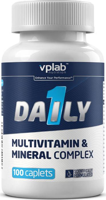 """Сбалансированный и оптимально подобранный витаминно-минеральный комплекс VPLab """"Daily 1"""", включающий в себя 25 витаминов и легкоусваиваемых минералов. Помимо витаминов и минералов, содержит также пищеварительные ферменты. Комплекс специально разработан для людей, ведущих активный образ жизни и следящих за своим здоровьем. Пищевая добавка полностью компенсирует недостаток в витаминах и минеральных веществах, возникающий в результате интенсивных физических нагрузок, нерегулярного питания и нервного перенапряжения. Результатом является укрепление жизненного тонуса и повышение сопротивляемости организма различным заболеваниям.  Состав: (Кроме табличных) концентрат сывороточного протеина, микрокристаллическая целлюлоза, кроскармелеза натрия, стеариновая кислота, диоксид кремния. Питательная ценность в 1 порции: Цинк - 5.0 мг, селен - 3.0 мкг, медь - 2.00 мг, марганец - 1.00 мг, хром - 2.0 мкг, молибден - 1.0 мкг, калий - 9.0 мг, парааминобензойная кислота - 5.0 мг, смесь ферментов (папаин, диастаза солод, липаза) - 32.0 мг, витамин А - 3.0 мг, витамин С - 60.0 мг, витамин D3 - 10.0 мкг, витамин Е - 20.0 мг, витамин К1 - 25.0 мкг, витамин В1 - 1.50 мг, витамин В2 - 1.70 мг, витамин В3 - 30.00 мг, витамин В6 - 2.00 мг, фолиевая кислота - 200.0 мкг, витамин В12 - 6.00 мкг, биотин - 15.0 мкг, пантотеновая кислота - 10.0 мг, кальций - 160.0 мг, железо - 5.0 мг, йод - 25.0 мкг, магний - 40.0 мг.  Рекомендации по применению: 1 каплету в день во время еды, запивая водой.  Товар сертифицирован.        Как повысить эффективность тренировок с помощью спортивного питания? Статья OZON Гид"""