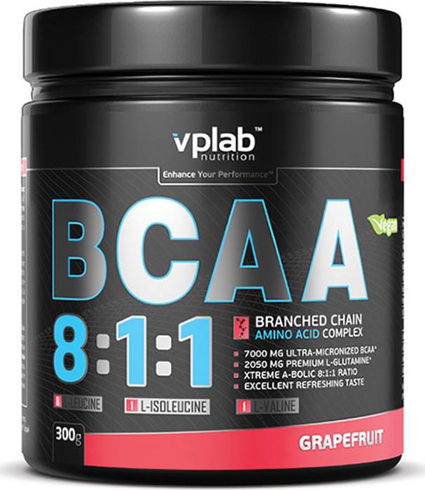 Аминокислоты Vplab BCAA 8:1:1, грейпфрут, 300 г аминокислоты mychoice nutrition extra fit bcaa вишня 375 г
