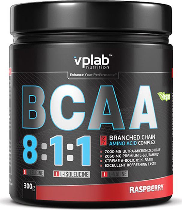 Аминокислоты Vplab BCAA 8:1:1, малина, 300 г аминокислоты geneticlab bcaa pro дыня 250 г