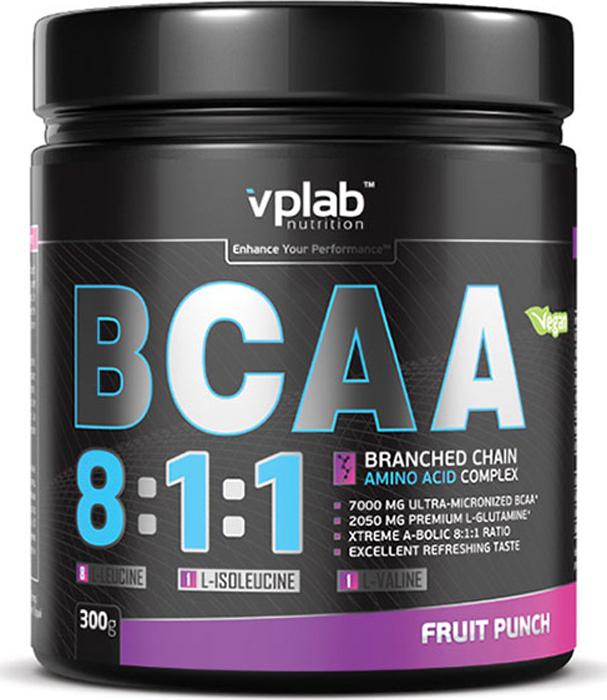 Аминокислоты Vplab BCAA 8:1:1, фруктовый пунш, 300 г аминокислотный комплекс vplab bcaa 2 1 1 красный апельсин 500 г