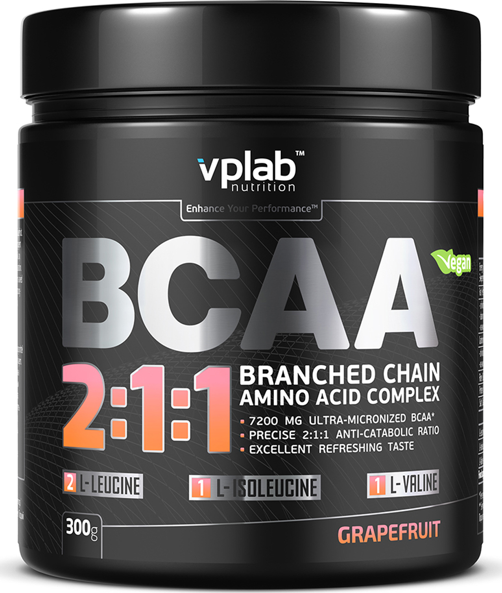 "Аминокислотный комплекс Vplab ""BCAA 2:1:1"", грейпфрут, 300 г, VPLAB Nutrition"