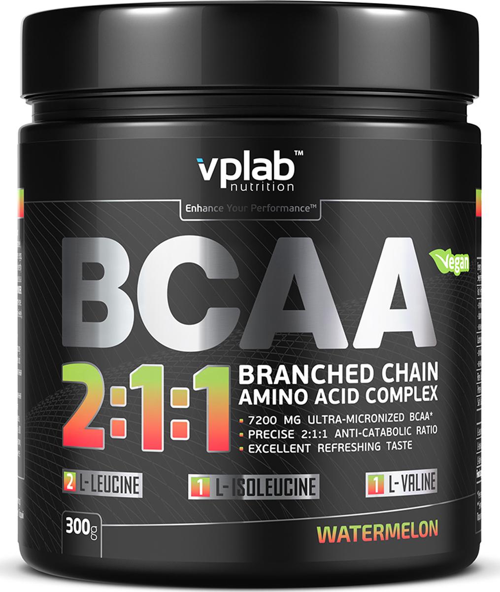 Аминокислотный комплекс Vplab BCAA 2:1:1, арбуз, 300 г аминокислоты olimp sport nutrition bcaa экстрим 4000 апельсин 60 мл