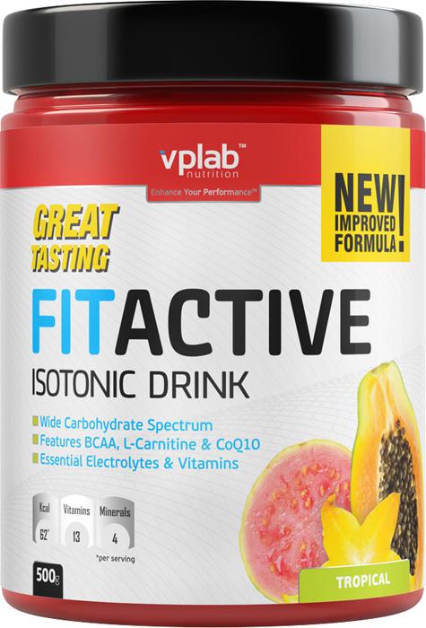 """Изотоник Vplab """"FitActive"""", тропические фрукты, 500 г, VPLAB Nutrition"""