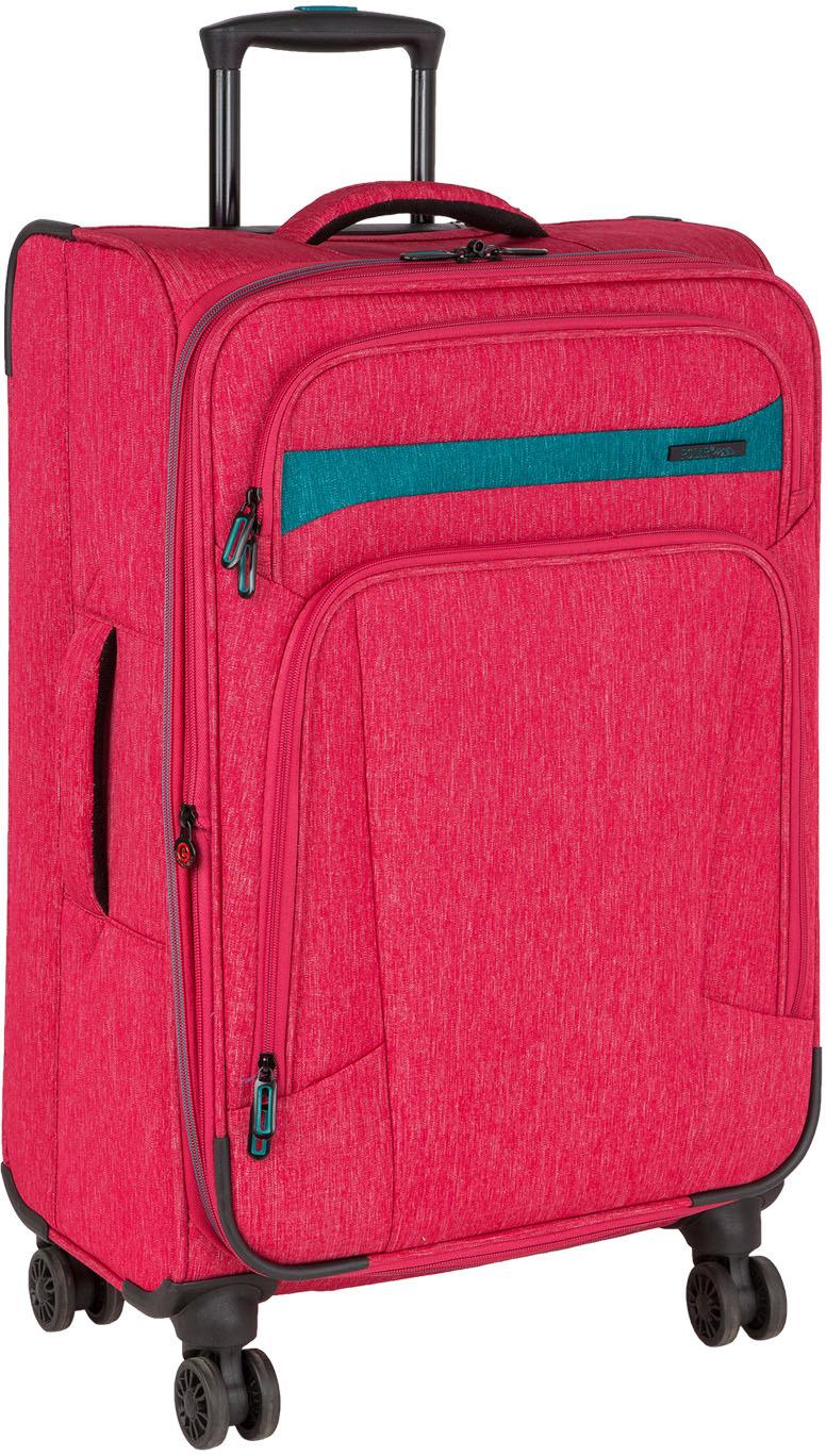 Чемодан Polar, четырехколесный, цвет: красный, серый, 38,5 л чемодан samsonite uplite цвет красный 38 5 л 99d 00005