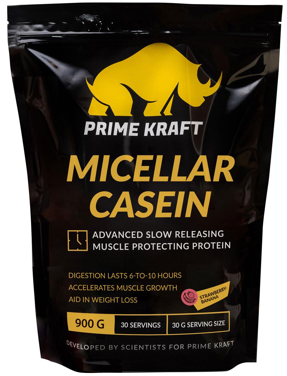 """Напиток сухой Prime Kraft """"Micellar Casein"""", коктейль белково-витаминный, клубника, банан, 900 г"""