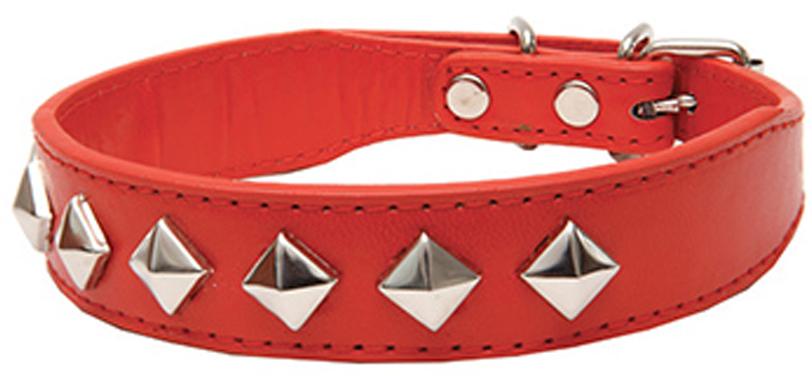 """Ошейник для собак Каскад """"Эко-кожа. Ромб"""", с украшением, цвет: красный, ширина 30 мм, обхват шеи 45 см"""