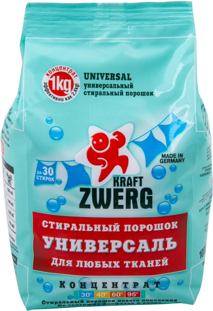 Cтиральный порошок Kraft Zwerg, универсал, концентрат, 1 кг порошок стиральный sano maxima sensitive концентрат 3 25 кг