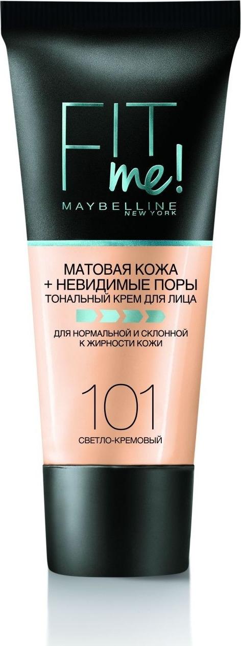 Тональный крем Maybelline New York Fit Me, для лица, матирующий, скрывающий поры, оттенок 101, цвет: светло-кремовый, 30 мл тональный крем для лица maybelline super stay 30 мл 24 часа b2975300