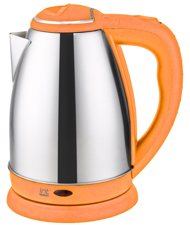 Чайник электрический Irit IR-1347, цвет: оранжевый aucma aucma адк 1800d39 1 7l304 электрический чайник из нержавеющей стали двойной анти ошпаривают