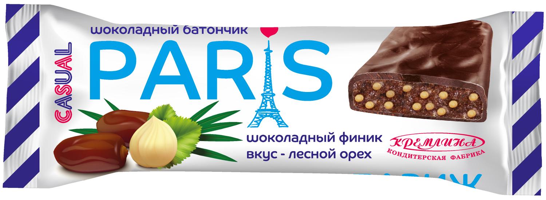 Батончик в шоколадной глазури Кремлина Кэжуал Париж, шоколадный финик с воздушным рисом и вкусом лесного ореха, 50 г energon protein шоколадный чизкейк батончик злаковый 60 г