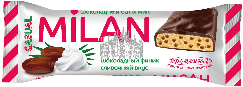 Батончик в шоколадной глазури Кремлина Кэжуал Милан, шоколадный финик с воздушным рисом и сливочным вкусом, 50 г energon protein шоколадный чизкейк батончик злаковый 60 г