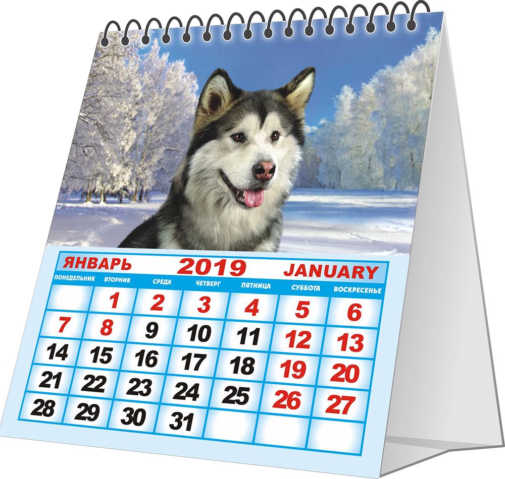 Перекидной календарь-домик 2019. Собаки.