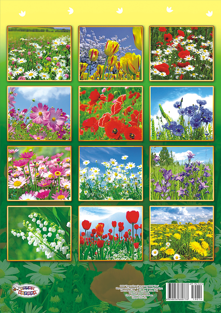 Календарь на 2019 год (на ригеле). Полевые цветы.