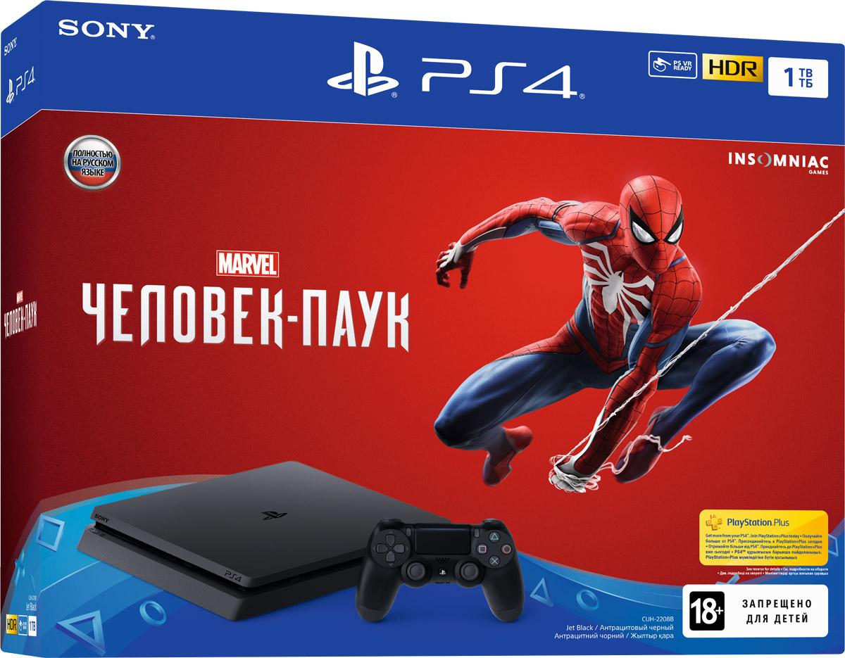 Игровая приставка Sony PlayStation 4 (1TB), Black (CUH-2108B) + игра Человек-Паук