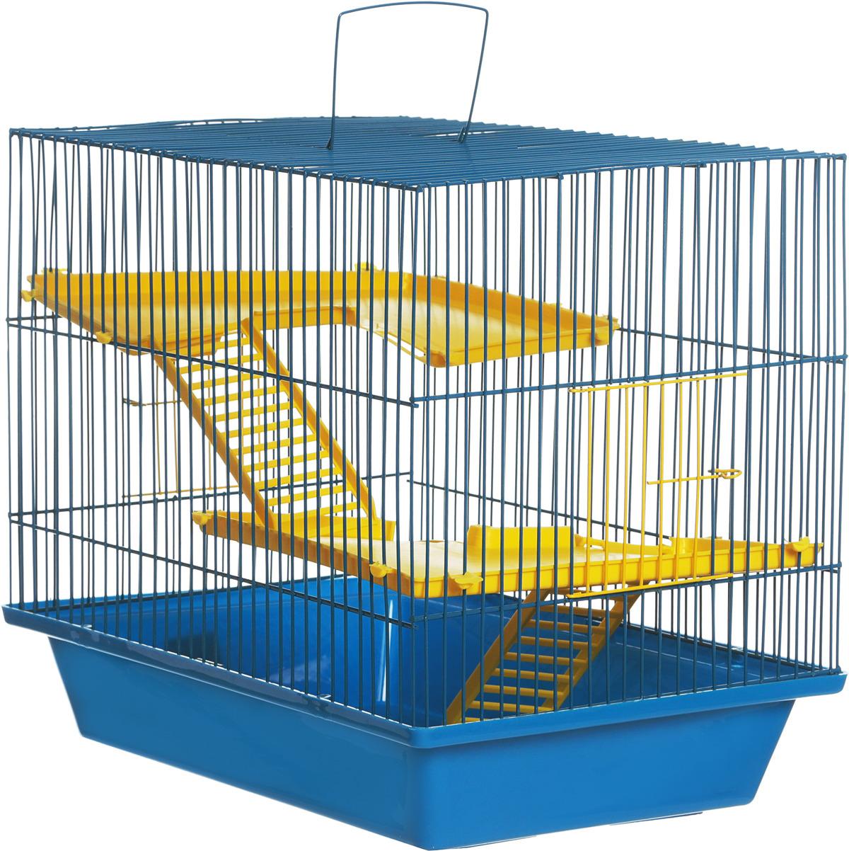Клетка для грызунов ЗооМарк Гризли, 3-этажная, цвет: синий поддон, синяя решетка, желтые этажи, 41 х 30 х 36 см клетка для шиншилл и хорьков зоомарк цвет синий поддон синяя решетка 59 х 41 х 79 см 725дк