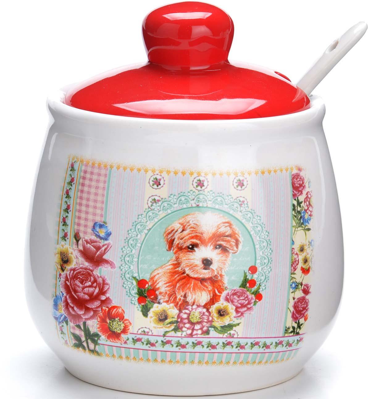 Сахарница Loraine Собачки, цвет: белый, голубой, розовый, 400 мл. 94969 сахарница rosanna good doggie цвет белый золотистый
