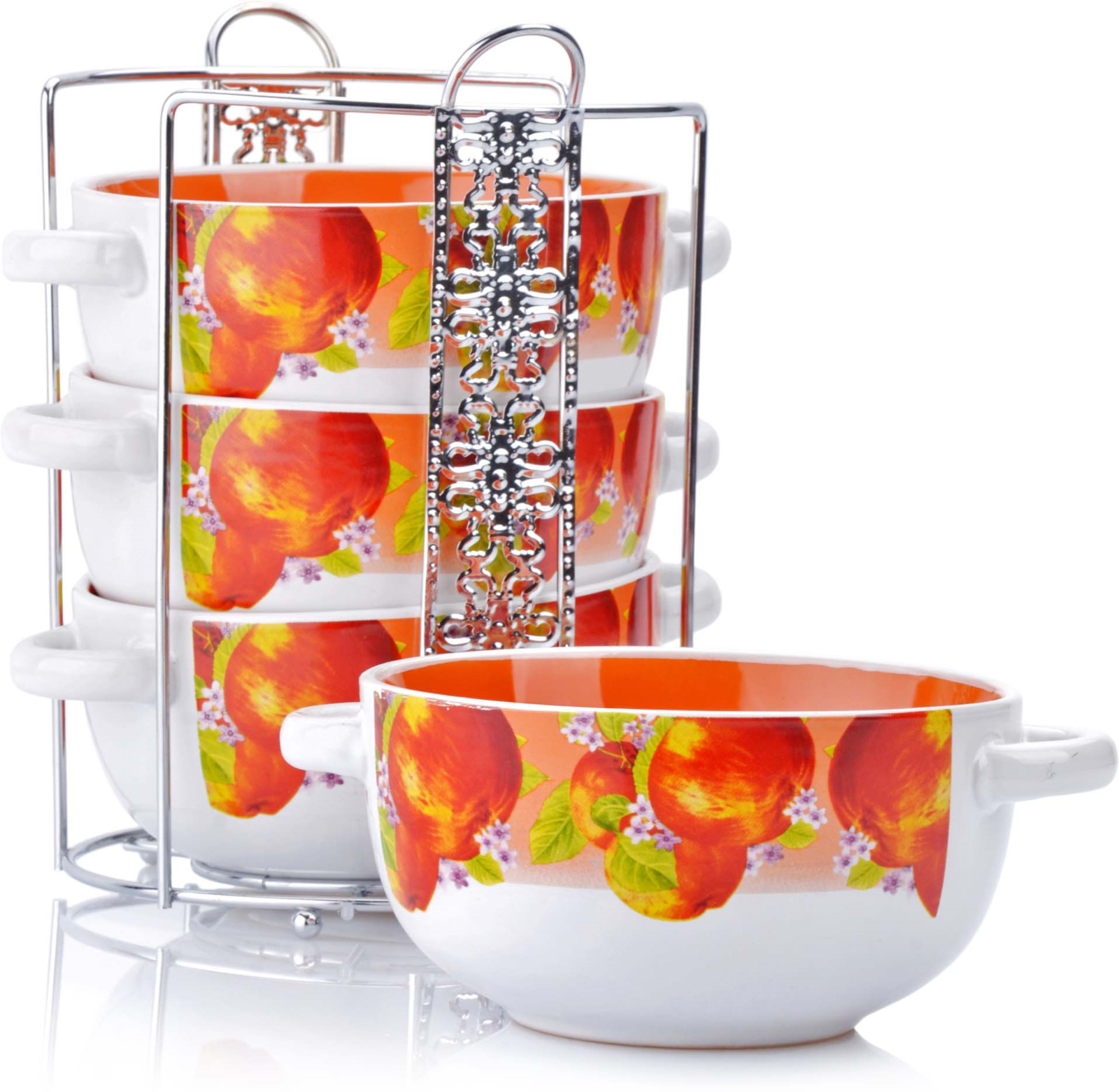 Набор из 4-х супниц Loraine выполнен из высококачественной керамики и украшен декоративным рисунком. Супницы компактно располагаются на оригинальной подставке из нержавеющей стали и не занимают много места при хранении. В керамической посуде блюда сохраняют свои вкусовые качества, кроме того она обладает термической и химической прочностью. Благодаря оригинальному дизайну, такие супницы отлично подойдут как для ежедневного использования, так и для праздничной сервировки стола. Изделия оснащены двумя удобными ручками. В наборе: 4 супницы, 1 подставка. Подходит для мытья в посудомоечной машине.
