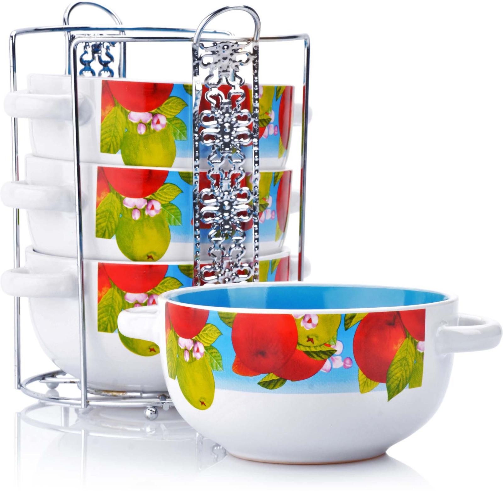 Набор супниц Loraine, на подставке, цвет: белый, красный, голубой, 540 мл, 5 шт набор супниц 5пр 540мл на подставке lr 1271828