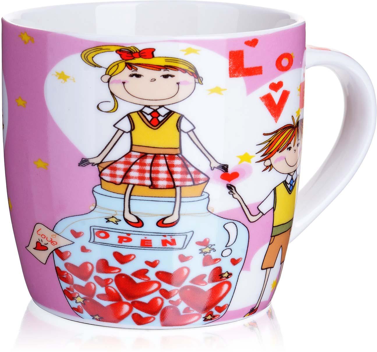 Кружка Loraine I Love You, цвет: белый, розовый, желтый, 320 мл кружка loraine i love you цвет белый красный розовый 320 мл