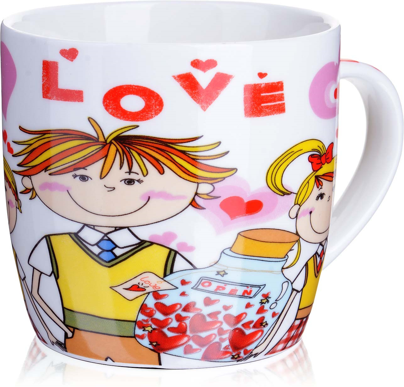 Кружка Loraine I Love You, цвет: белый, розовый, желтый, 320 мл. у3670 кружка loraine i love you цвет белый красный розовый 320 мл