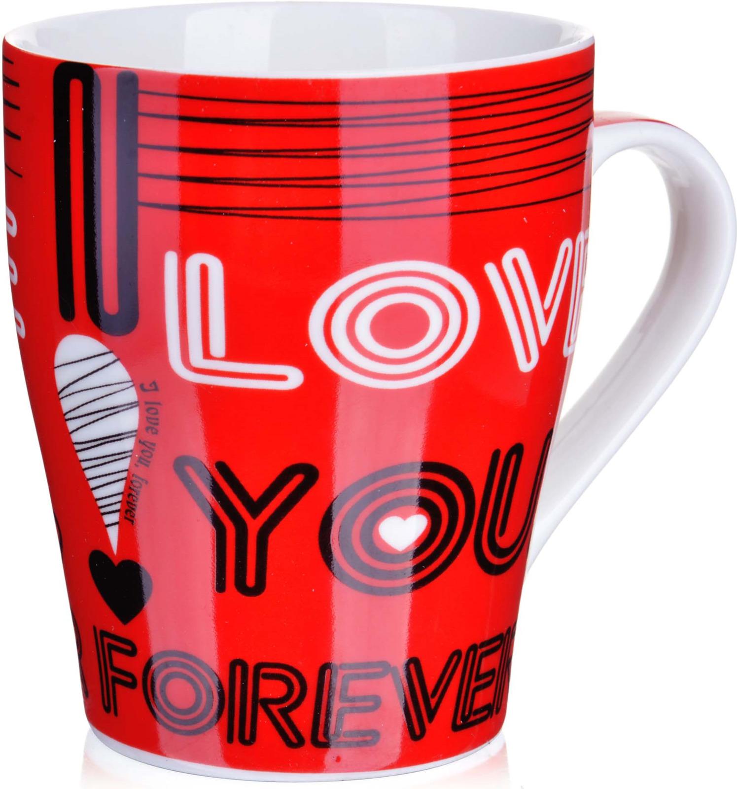 Кружка Loraine I Love You, цвет: белый, красный, черный, 340 мл кружка кастет цвет черный серебристый