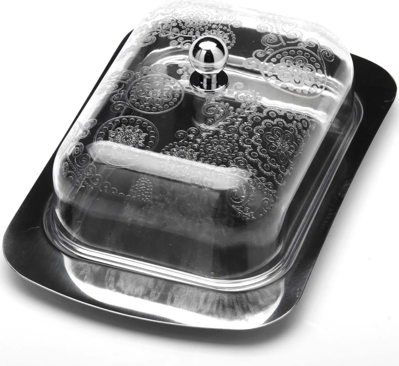 Масленка Материал: Нержавеющая сталь, Пластик Размер коробки: 16.5х9.5х13см Вес:240г  Эта масленка сочетает в себе качество и стиль. Она сохранит ваше масло свежим как в холодильнике так и на обеденном столе. Прозрачная крышка и удобная ручка делают масленку еще более удобной и практичной в использовании.