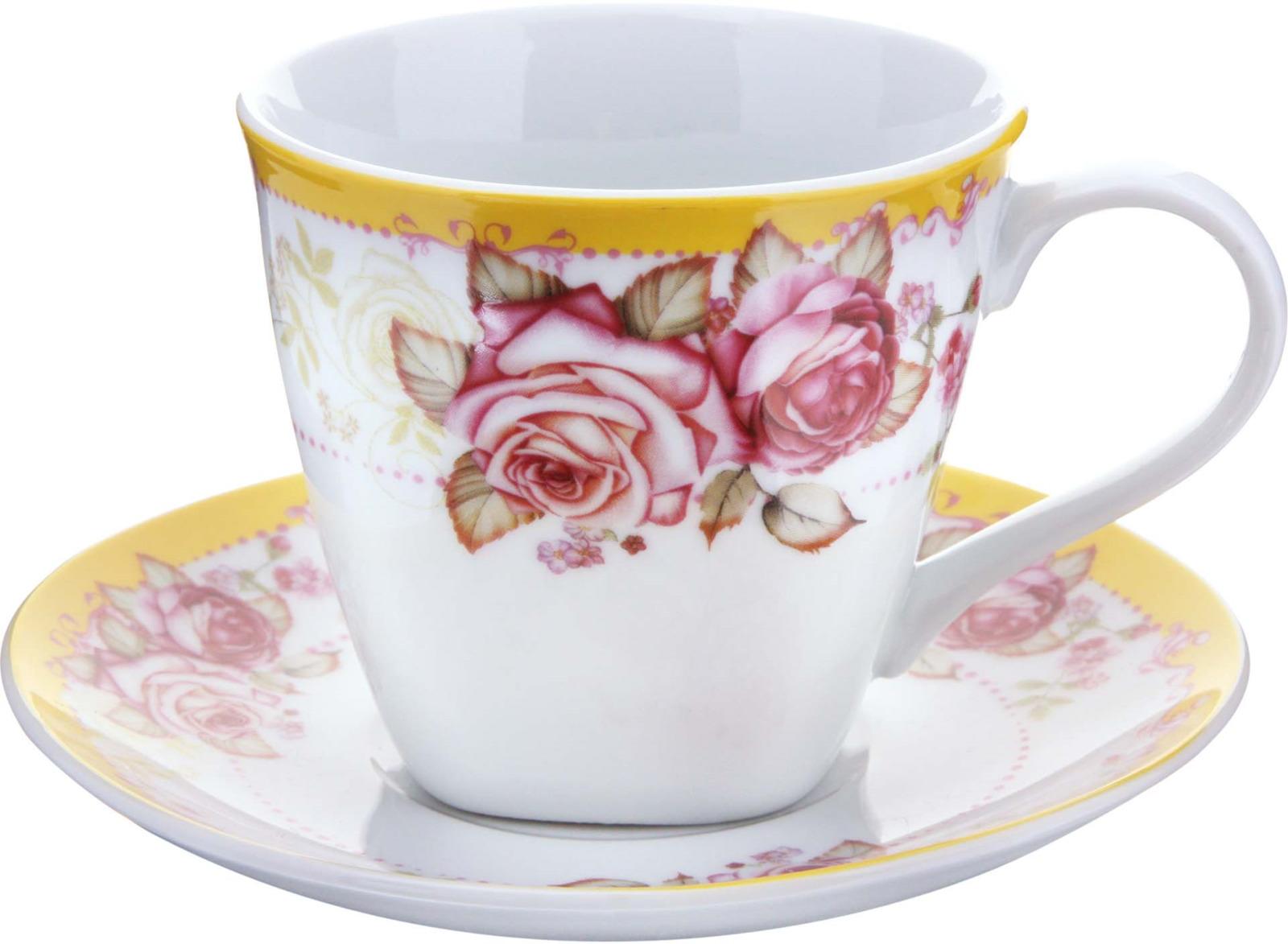 Чайная пара Loraine, цвет: белый, розовый, желтый, 2 предмета чайная пара loraine 220 мл с узором