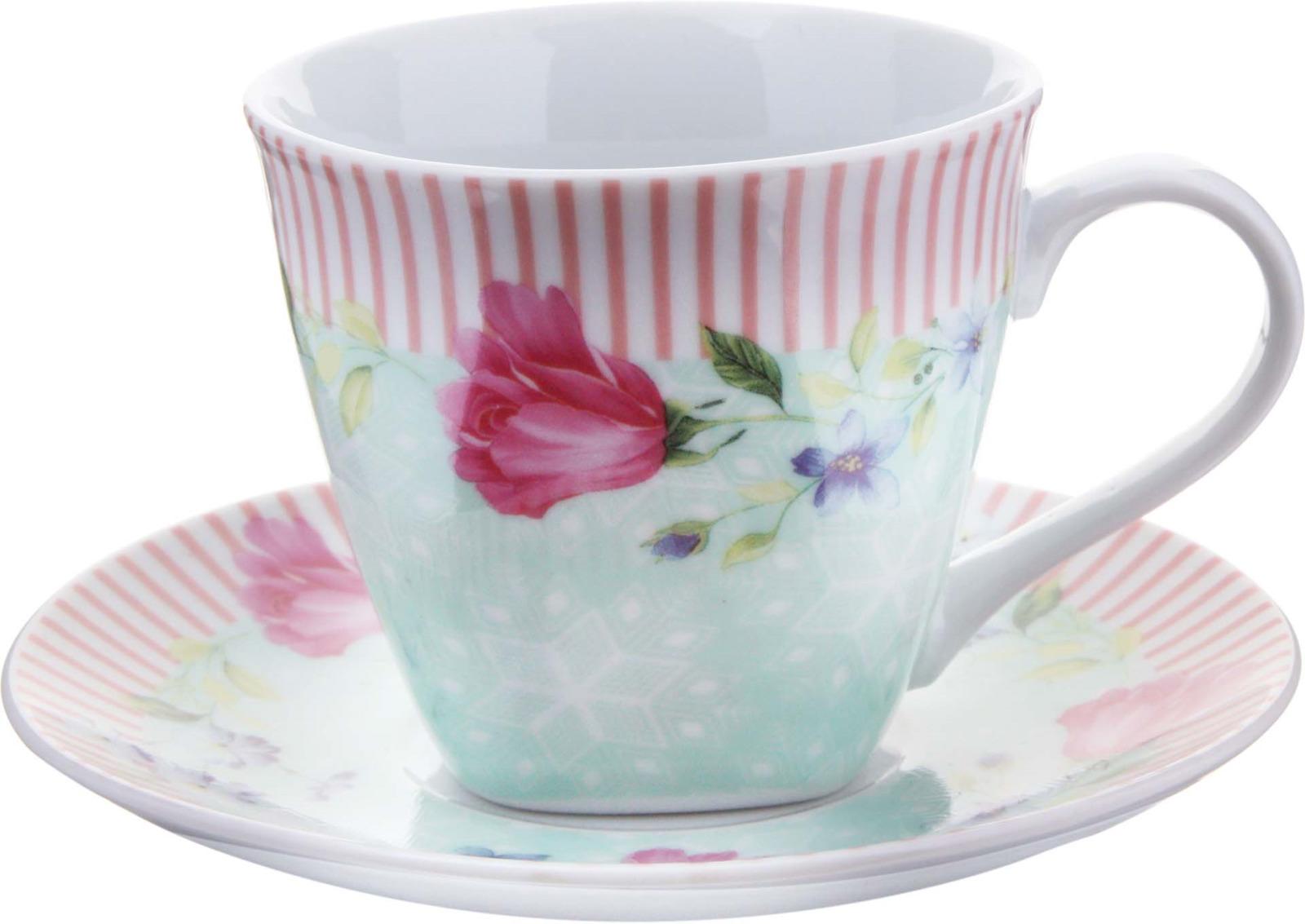 Чайная пара Loraine, цвет: белый, розовый, 2 предмета. у4178 чайная пара loraine 220 мл с узором