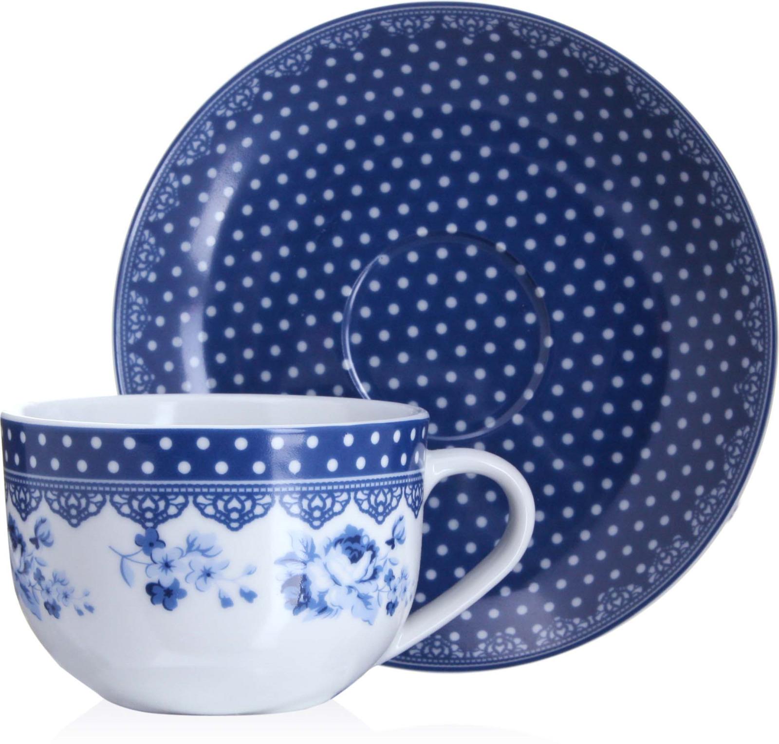 Чайная пара Loraine изготовлена из высококачественного фарфора. Чашка украшена по верху широкой цветной в белый горошек каймой, стенки декорированы цветочным рисунком. Блюдце имеет цветную в белый горошек поверхность. Удобная, с классическим дизайном чайная пара не только украсит сервировку стола, но и поднимет настроение и превратит процесс чаепития в одно удовольствие. Изделия легко и просто мыть. Чайная пара прекрасно подойдет в качестве подарка для родных и друзей!