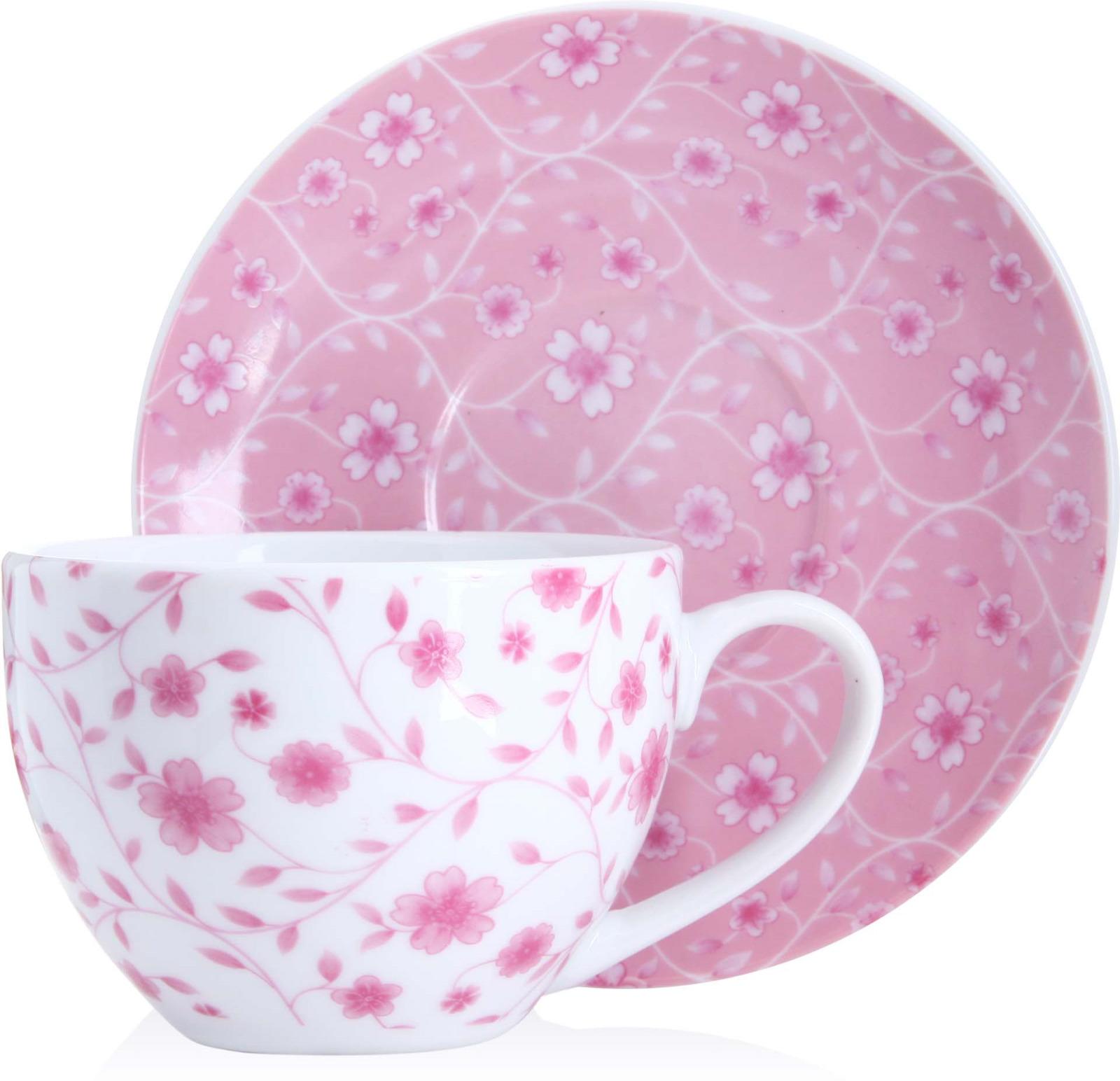 Чайная пара Loraine, цвет: белый, розовый, 220 мл, 2 предмета. у4171 чайная пара loraine 220 мл с узором