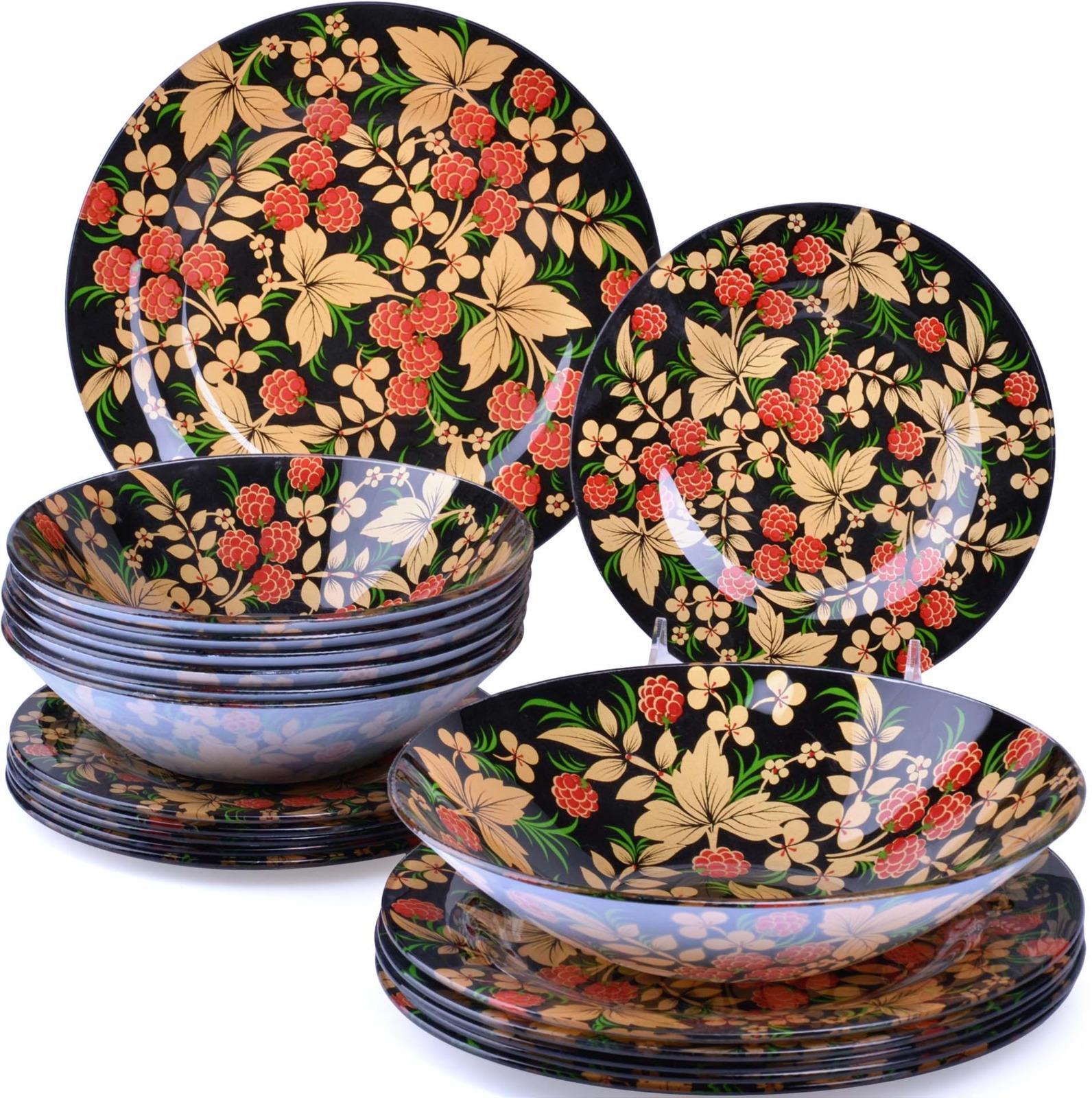 Набор посуды Loraine выполнен из стекла и декорирован красочным цветочным рисунком. Данный набор предназначен для сервировки обеденного стола на 6 персон. Форма изделий круглая. Классический дизайн сочетается в нем с максимальной функциональностью. Такой набор послужит отличным подарком к любому празднику, а также добавит элегантности и уюта любому праздничному столу! Посуда обладает гладкой непористой поверхностью, не впитывает запахи, устойчива к перепадам температуры и легко моется. В набор входит 6 десертных тарелок, 6 глубоких тарелок, 6 больших тарелок и 1 большая салатница. Подходит для мытья в посудомоечной машине.