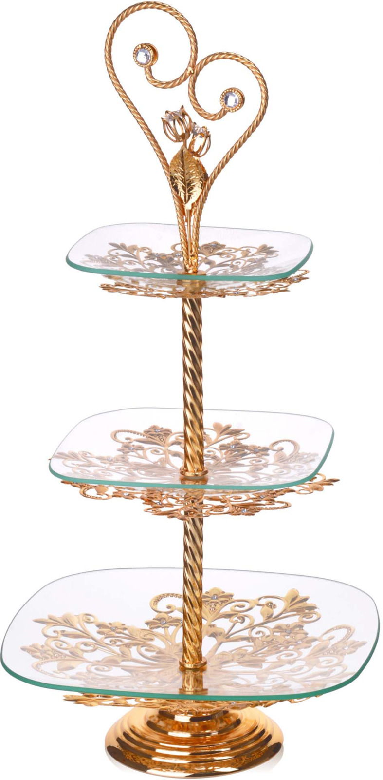 Конфетница Loraine, 3-ярусная, цвет: золотой, высота 63 см