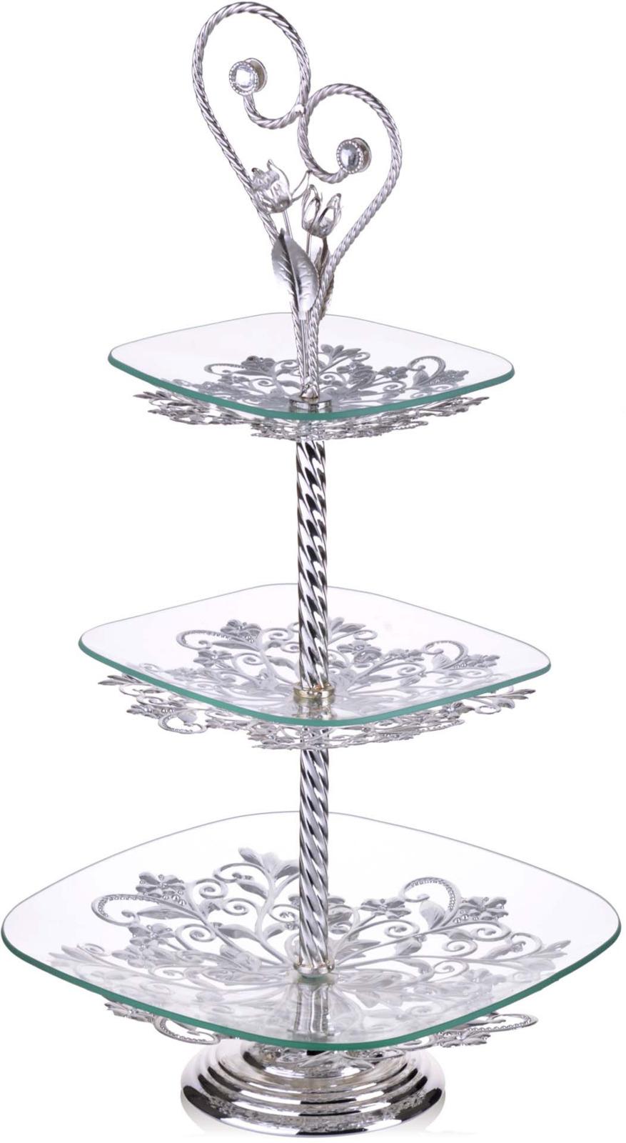 Элегантная конфетница Loraine, выполненная из стекла, сочетает в себе изысканный дизайн с максимальной функциональностью. Конфетница состоит из 3-х ярусов разного размера и предназначена для красивой сервировки конфет, фруктов и десертов. Ярусы конфетницы оформлены оригинальным золотым орнаментом. Стойка-держатель конфетницы выполнена из стали с золотым покрытием. Конфетница украсит сервировку вашего стола и подчеркнет прекрасный вкус хозяина, а также станет отличным подарком.