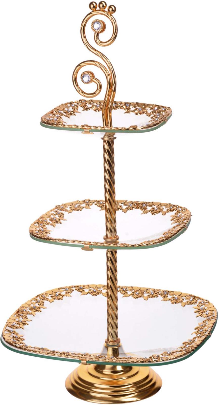 Конфетница Loraine, 3-ярусная, цвет: золотой, высота 55 см набор фильтров philips fc8066 01