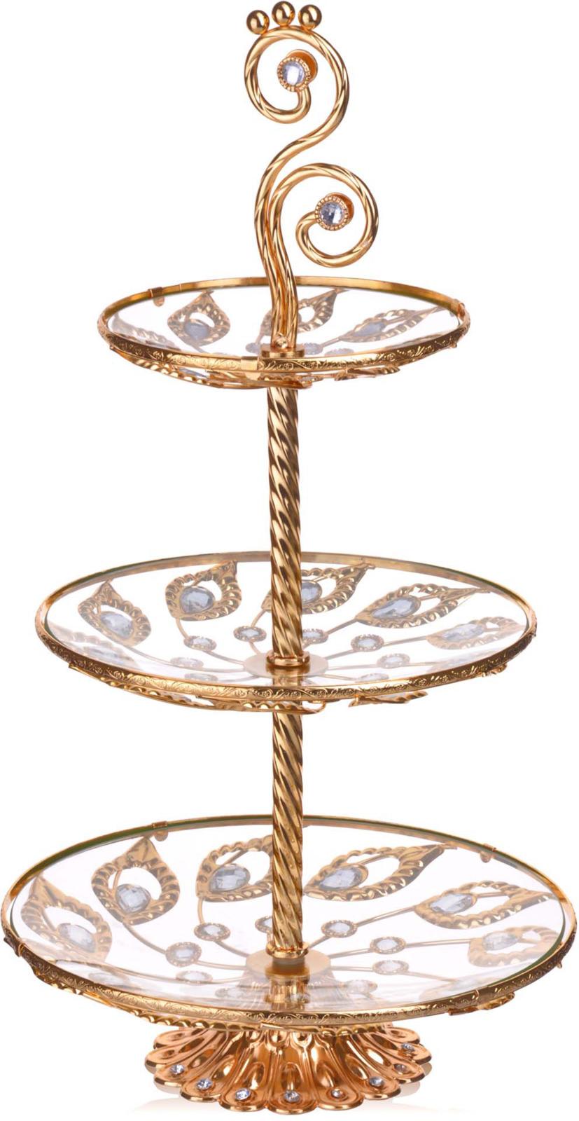 Конфетница Loraine, 3-ярусная, цвет: золотой, высота 58 см