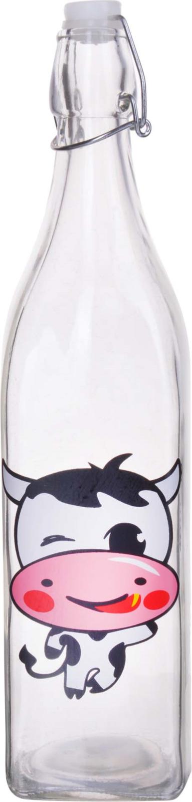 Бутылка Loraine, цвет: прозрачный, белый, розовый, 1 л стоимость