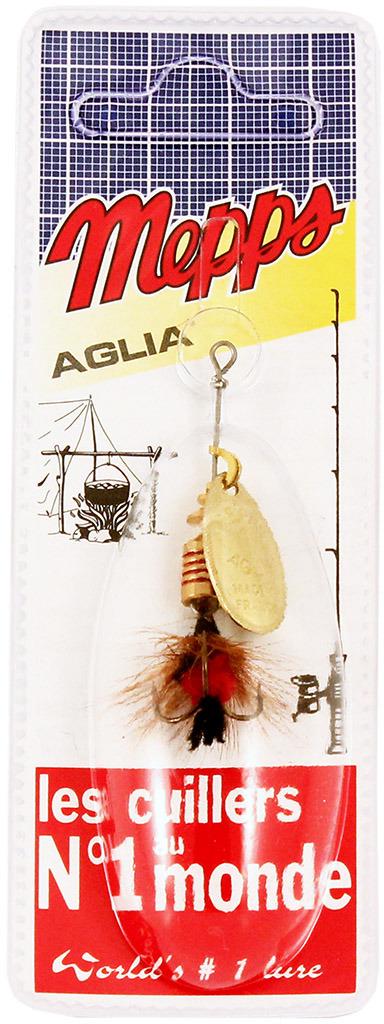 Блесна MEPPS Aglia OR Mouch. Rouge, вращающаяся, №1, цвет: золотой, черный, 3,6 г
