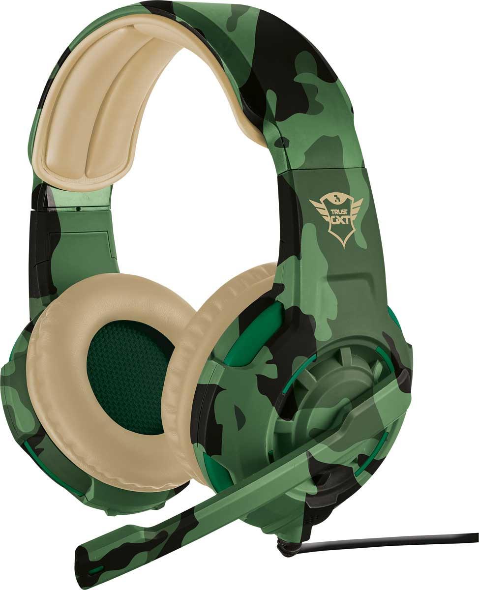 Игровые наушники Trust GXT 310C, цвет: бежевый, зеленый игровая мышь trust gxt 152 19509