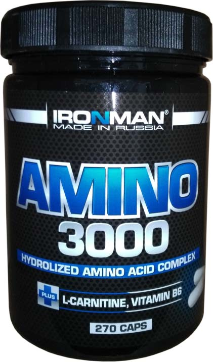 Аминокислоты Ironman Amino 3000, 270 капсул olimp аминокислоты в таблетках gold salmon 12000 amino mega tabs 300 таблеток