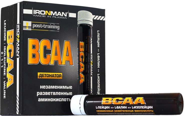 Комплекс аминокислот Ironman BCAA, 10 флаконов по 25 мл аминокислоты bcaa geneticlab bcaa powder без вкуса 200 г
